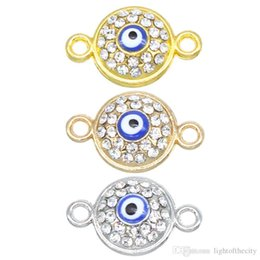 Evil Eye Connector Wholesale NZ - 50pcs lot 17*11*4mm Blue Evil Eye Metal Charms Necklace Bracelet Connectors For Diy Jewelry Making Accessories wholesale