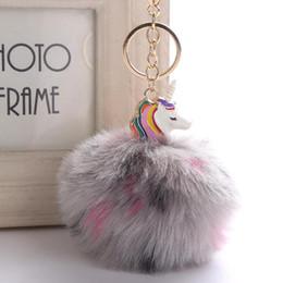 Artificial Chains Wholesalers Australia - Souvenirs Fluffy Metal Alloy Unicorn Pom Keychain Pendant Cute Pompom Artificial Rabbit Fur ball Key Chain Bag Key Ring Hang Bag