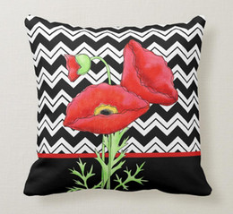 "chevron print pillows Australia - Throw Pillow Case Red Poppy Black White Zigzag Chevron Decorative Square Sofa and Cushions Cover, ""16inch 18inch 20inch"", Pack of X"