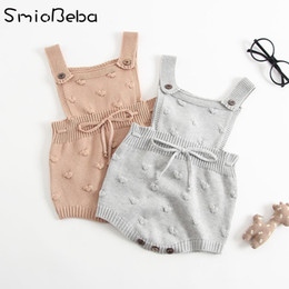 Jumpsuit Year Baby Australia - Ins Summer Knitted Rompers Newborn In Baby Girls' Rompers&jumpsuit Vest Top Tee Kids Boys Gray Rompers 0-3 Years Girl Clothing Y19050602