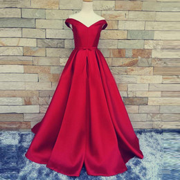 simple nude art Australia - 2019 Simple Dark Red Prom Dresses Robe De Soiree V-Neck Off The Shoulder Custom Made Lace Up Back Evening Gowns Formal Party Dresses