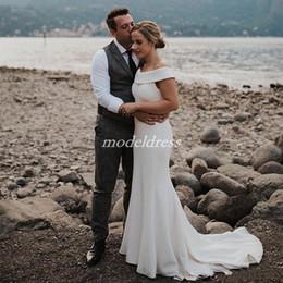 Cheap wedding dresses Custom made online shopping - 2019 Simple Beach Mermaid Wedding Dresses Off Shoulder Hollow Back Sweep Train Country Garden Bridal Gowns robe de mariée Plus Size Cheap