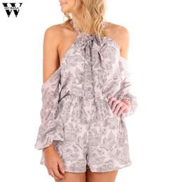 Wholesale Women Bodysuit Australia - Womail bodysuit Women Summer Fashion Casual Long Sleeve Floral Print Playsuit Causal Jumpsuit Print NEW dropship M6