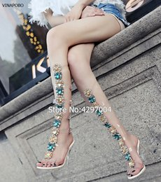 DiamonD knee high boots online shopping - 2018 Sexy Pvc Transparent Knee High Boots Woman Open Toe T strap Rhinestone Diamond Clear High Heel Shoes Women Gladiator Sandal