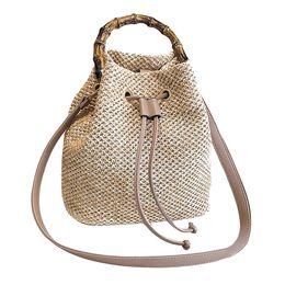 Chinese  Women Beach Bamboo Bracelet Straw Bag Burlap Square Bag Beach Messenger ladies handbag bolsa feminina P manufacturers