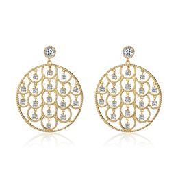 $enCountryForm.capitalKeyWord Australia - Bohemia Rhinestone Drop Statement Earrings For Women Girl Gold Color Round Hollow Dangle Earring Fashion Jewelry pendientes 2019