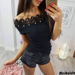 $enCountryForm.capitalKeyWord NZ - Sexy Women Lace Flower Off Shoulder T-shirt Tops Tees Clothes Summer Fashion Tee Causal Women Clothes