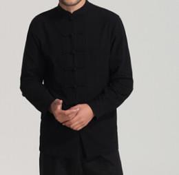 9fb48b3b9 2019 White Men Cotton Linen Long Sleeve Kung Fu Shirt Classic Chinese Style  Tang Clothing Size S M L XL XXL XXXL Hombre Camisa Wholesale