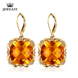 $enCountryForm.capitalKeyWord UK - Natural citrine 18K Pure Gold Earring Real AU 750 Solid Gold Earrings Diamond Trendy Fine Jewelry Hot Sell New 2019