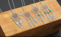 Necklaces Pendants Australia - 6 Style Dream Catcher Necklaces Dreamcatcher Necklace Pendant Opal Bead Tassels Plume Feather Choker Vintage Silver Women Jewelry Gift