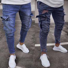 Discount grey distressed jeans - 2018 New Plus Size S-5XL Black Grey Stretch Slim Fit Jeans Men Hi-Street Mens Distressed Denim Knee hole zipper Jeans