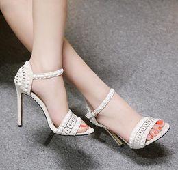 $enCountryForm.capitalKeyWord Australia - Plus size 35 to 42 ivory pearl beaded wedding shoes women designer shoes