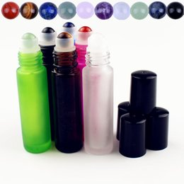 refillable roller ball bottles Australia - 1PC 10ml Frosted Glass Essential Oil Bottle with Natural Gemstone Roller Ball Empty Refillable Perfume Bottles Liquid Roll On