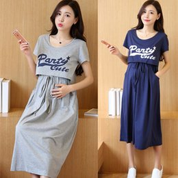 Maternity Suits Australia - Envsoll Dress Breastfeeding Two-piece Suit Short-sleeved Maternity Clothes For Pregnant Women Long Korean Skirt W07 Q190521