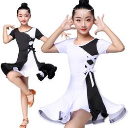 e0e66348354f White Black Latin Dance Competition Dresses For Girls Kids Costume Skirt  Ballroom Salsa Tango children Dancewear cha cha