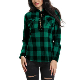 aa61a2818 wholesale Women Plaid Shirts 2019 Spring Long Sleeve Blouses Shirt Office  Lady Cotton Lace up Shirt Tunic Casual Tops Plus Size