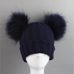 Skull Cap Ball Australia - Winter Baby Knit Hat With Two Fur Pompoms Boy Girls Natural Fur Ball Beanie Kids Caps Double Real Pom Pom Hat for Children