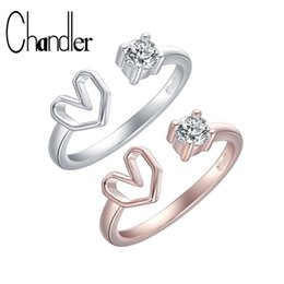 Love Ring Australia - Chandler Rose Gold Silver Love Heart Rings For Couples Clear Crystal Open Knuckle Toe Bague Engagement Band Romantic fashion Ane