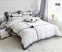Discount dark grey bedding - Cotton Princess Pink White Grey+Black Lace Girls Bedding 4pcs sets Ruffle DuvetCover PillowCase BedSkirt super king Bedd