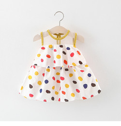 Wholesale 2019 Kids girl Polka dots dress Baby girl Princess Cotton Sleeveless dress Summer children clothes
