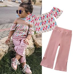 $enCountryForm.capitalKeyWord Australia - Toddler Girls Outfits Suit Off Shoulder Short Sleeve Ice Cream Print Shirt Solid Color Stripe Wide-Leg Pants Set Girls Casual Outfits