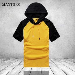 $enCountryForm.capitalKeyWord Australia - Summer Men Short Sleeve Hoodies 2019 Brand Casual Gyms O Neck Sweatshirt Male Clothes Patchwork Slim Fit Hooded Hoody US Size