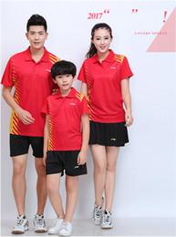 $enCountryForm.capitalKeyWord Australia - LI NING 7301 Quick-drying Breathable Badminton Suit Short Sleeve T-shirt shorts Running Basketball wear Men&Women&Kids red
