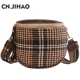 JI HAO Fashion Brands Crossbody Bag For Women Plaid Single Shoulder Bag  Female Sling Ladies Vintage Soft Wool Messenger 73e497647b9e3