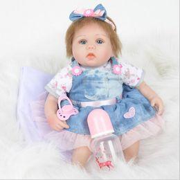 $enCountryForm.capitalKeyWord Australia - 18'' Silicone Baby Reborn Dolls Collection Newborn Doll Toy Dressed in Nice Dress Lifelike Doll Reborn Babies Gift For Children Hot Sale New