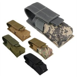 ammo pouches 2019 - Tactical Single Pistol Magazine Pouch Knife Sheath Hunting Ammo Molle Pouch Multifunction Bags New discount ammo pouches