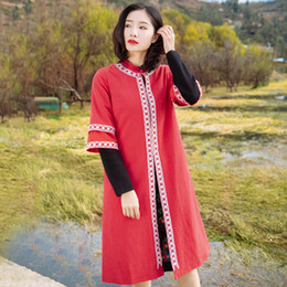 Chinese Collar Jackets Australia - Original New Women's Red National Wind Plate Button Embroidery Jacket Chinese Style Stand Collar Loose Seven Sleeve Windbreaker