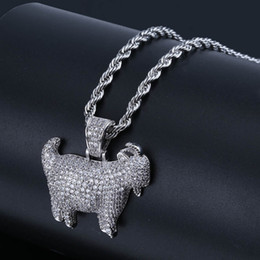 $enCountryForm.capitalKeyWord Australia - 18K Gold Plated Hip Hop Necklaces Trendy Fashion Men Women Luxury Bling Zircon Micro Paved Goat Pendant Necklaces Wholesale LN125