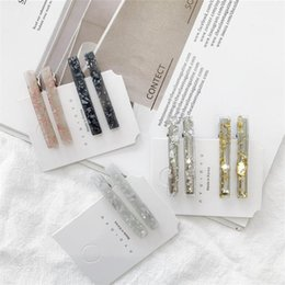 thin hair bangs Canada - 1PC Japanese Thin Rectangle Acetate Hair Clip Women Girls Tin Foil Sequins Transparent Duckbill Hairpin Side Bangs Barrettes