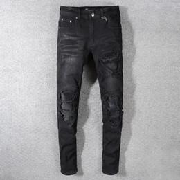 Ingrosso 2019SS New Fashion High Stree AMIRI Jeans sbiancati lavati neri toppa da uomo patch PU pantaloni elasticizzati leggings slim Spedizione gratuita