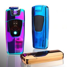 $enCountryForm.capitalKeyWord Australia - Newest Car Cool Colorful USB Charging Double ARC Lighter Fingerprint Sensing Portable Innovative Design For Cigarette Smoking Pipe Tool DHL