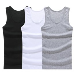 $enCountryForm.capitalKeyWord NZ - Hot Sale 3pcs Cotton Mens Sleeveless Tank Top Solid Muscle Vest Undershirts O-neck Gymclothing Tees Whorl Tops