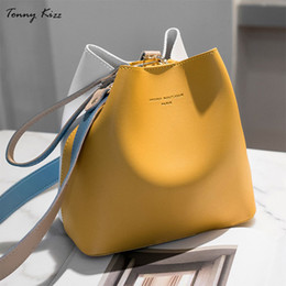 yellow hand bags Australia - Tonny Kizz Panelled Bags For Women Shoulder Handbag Leather Female Crossbody Bags Large Capacity Ladies Hand Bags Yellow Color Y19052402