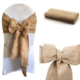 "$enCountryForm.capitalKeyWord Australia - Burlap Chair Bow sashes Burlap Ribbon for Banquet Wedding Party Baby Shower Craft Chair Cover Decor FR STORE 100pcs 7""x 108"""