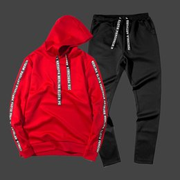 red black tracksuits Australia - Fashion Hip Hop Hoodies Men Autumn Winter 2 PCS High Street Patchwork Hoooded Sweatshirt Male Black Red White Hoodie Tracksuit