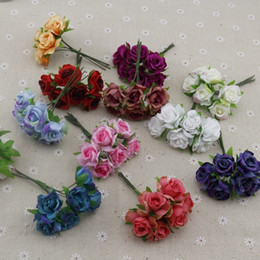 $enCountryForm.capitalKeyWord Australia - 6pcs Rose Artificial Flowers For Wedding Car Decoration Handicraft Diy Bride Bouquet Home Decorative Silk Wreath Party Supplies C19041701