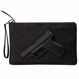 3D Imprimir Pistola de embrague bolso de noche de las mujeres Bolsos de cuero Diseñador Partido monedero femenino messenger bags ladies Envelope Tote Clutches # 362076 en venta