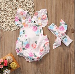 Child Girl Tutu Sweet Floral Australia - Hot sale 2019 Cute Kids Baby Girls Floral Sweet Romper One-pieces Summer Clothes + Headband Sunsuit Children Clothing Sets