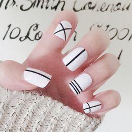 Discount best nail art set - Best 24Pcs Set Fake Nails Tips Square Type Wedding Brides Nail Art Tips Decor QQ99