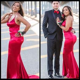 Girls size 12 red dresses online shopping - New Sexy Mermaid Prom Dresses Spaghetti Straps Black Girls Backless Formal Evening Dress Robe de soiree Celebrity