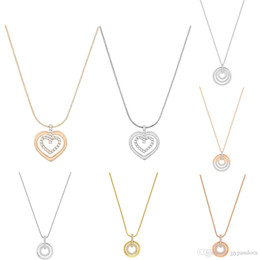 Necklace three crosses online shopping - FAHMI SWA Circle Heart shaped Rose Necklace Three ring Double Ring Temperament Clavicle Chain Female Jewelry Simple Round Element
