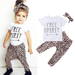 Baby Leopard Print T Shirt NZ - Stylish Baby Girl Summer 3Pcs Outfit Letter Print Short Sleeve Princess T-shirt Top+Long Leopard Pants+Headband Girl Clothes Set