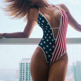 Wholesale american back online – 2020 Sexy sport Bikini Sets American Flag Stars Stripes flag digital printing one piece bandage open back swimsuit yakuda high waist popular