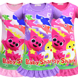 Girls Tassel Shirt Australia - Girls Baby Shark Dress Clothes Lovely Children Short Sleeve Cartoon Pinkfong Pajamas Dress Shark Print Infant Dresses Baby Sumer Night Skirt