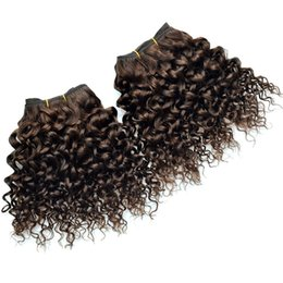 Brazilian Curly Weave Hairstyles Australia - 4 Bundles Brazilian Curly Wave Dark Brown Hair Extensions Fashion Bob Hairstyles Jerry Curl Human Hair Brown Brazilian Weave Kinky Curly