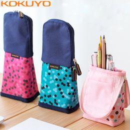 Discount boys stand - KOKUYO Japan Kawaii Pencil Case Standing Polka Dot Canvas Pencil Bag Kids School Pen Box for Girls Cute Pencilcase for B